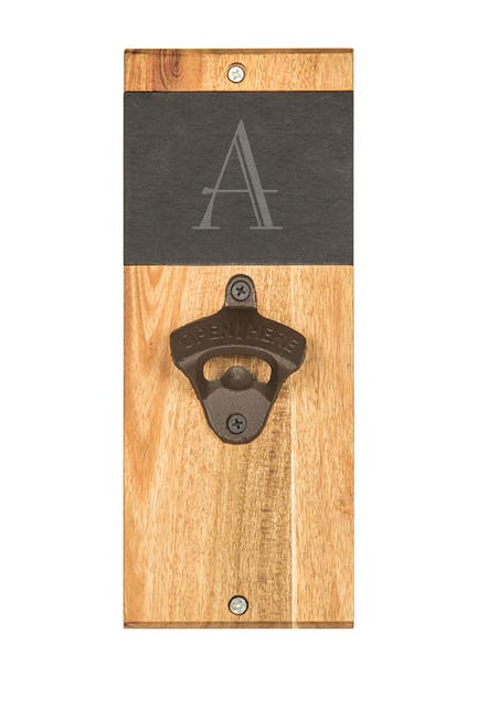 Image of Cathy's Concepts Monogram Acacia & Slate Wall Bottle Opener - Multiple Letters Available
