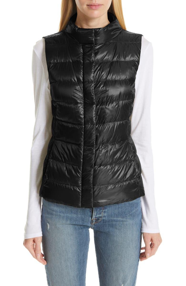 HERNO Short Quilted Down Vest, Main, color, BLACK