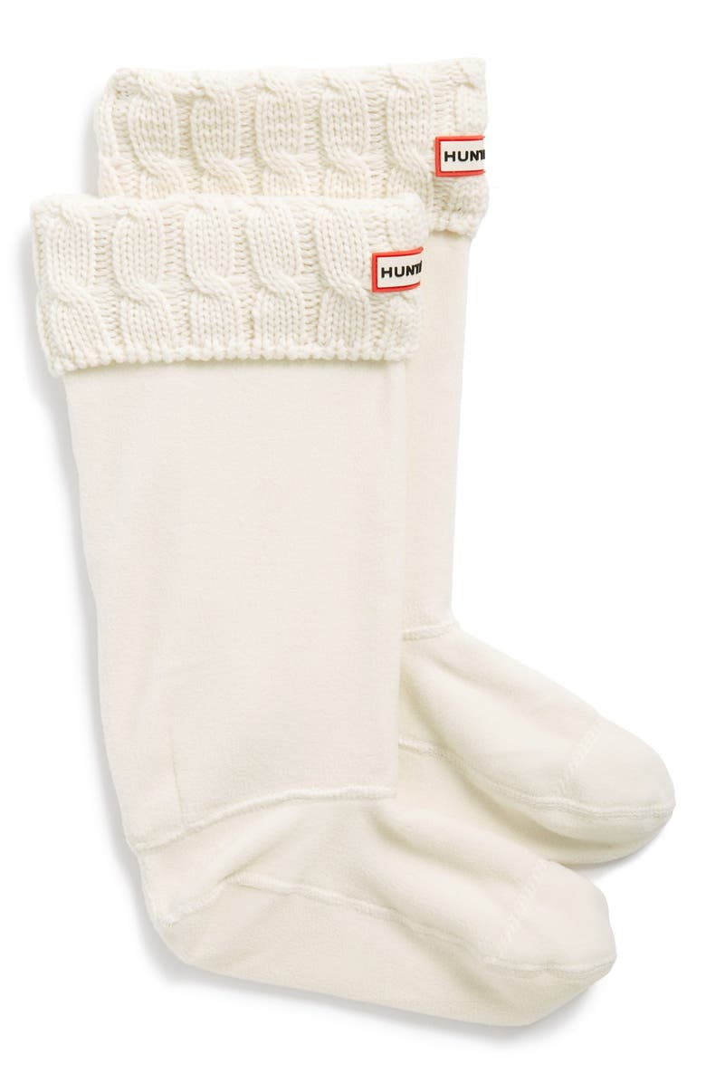 HUNTER Original Tall Cable Knit Cuff Welly Boot Socks, Main, color, NATURAL WHITE
