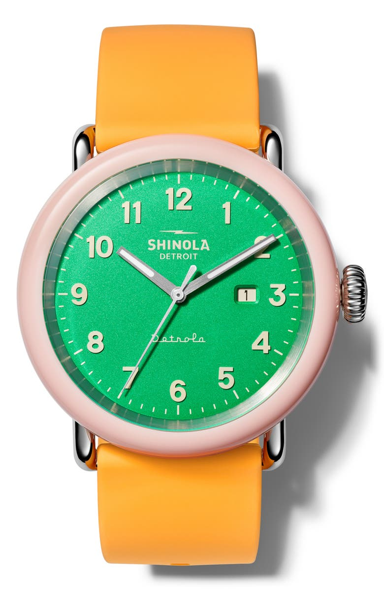 SHINOLA Detrola Silicone Strap Watch, 43mm, Main, color, ORANGE/ GREEN/ PINK