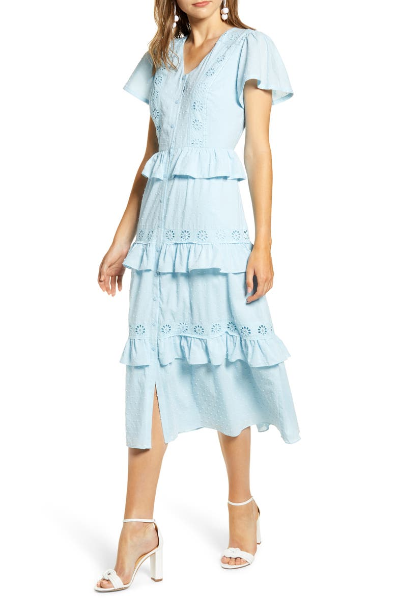 RACHEL PARCELL Ruffle Tier Midi Dress, Main, color, 400
