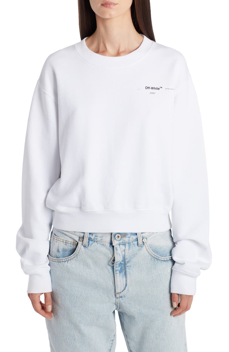 OFF-WHITE Puzzle Arrow Logo Cotton Sweatshirt, Main, color, 100