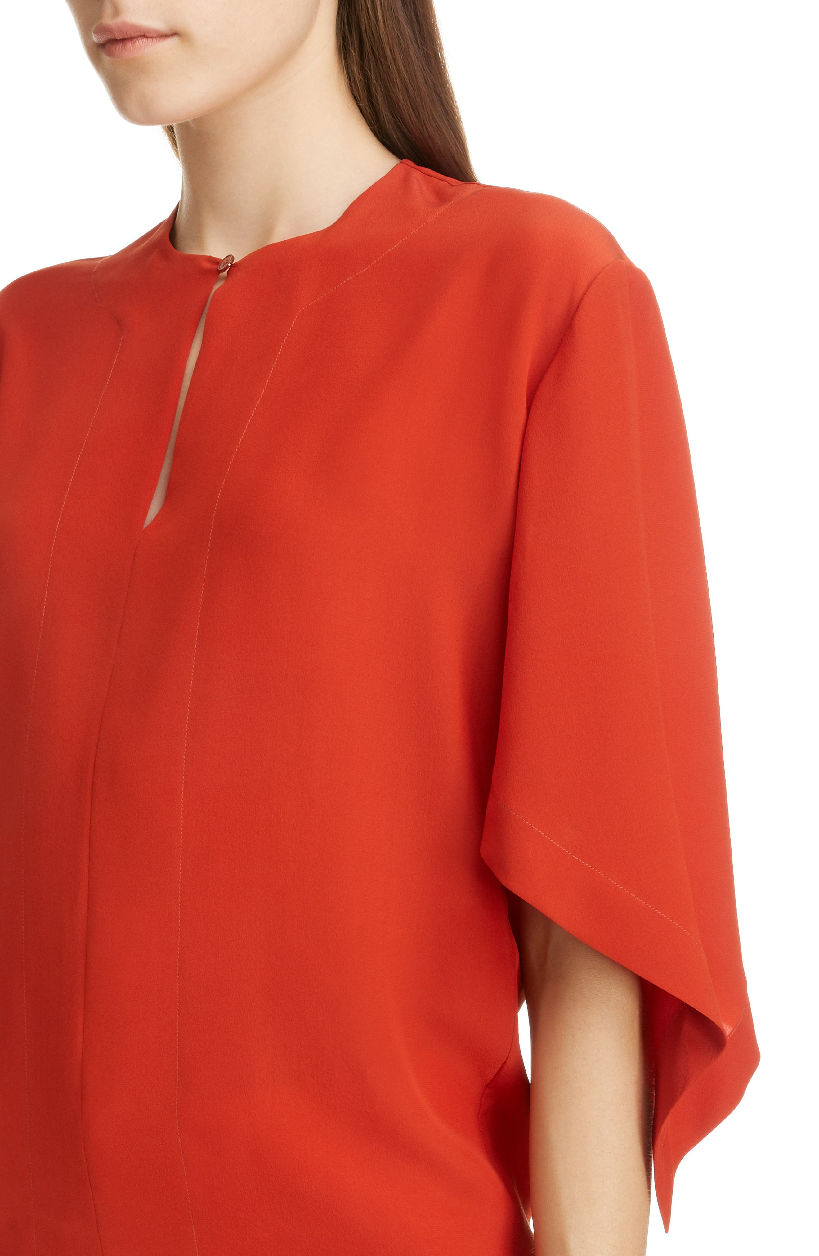 ,                             Split Neck Silk Blouse,                             Alternate thumbnail 4, color,                             843-ROOIBOS ORANGE