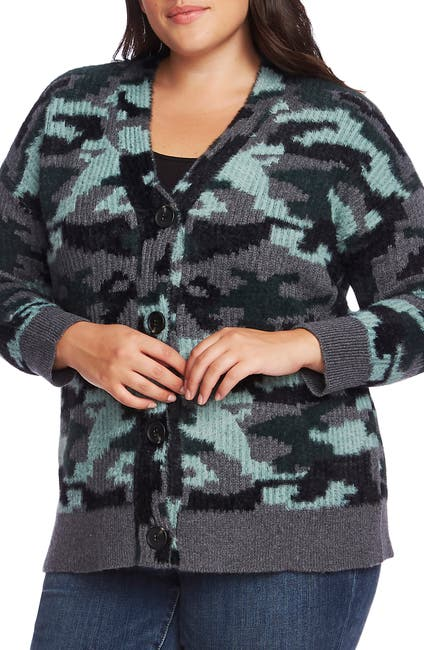 Image of Vince Camuto Camo Button-Up Cardigan