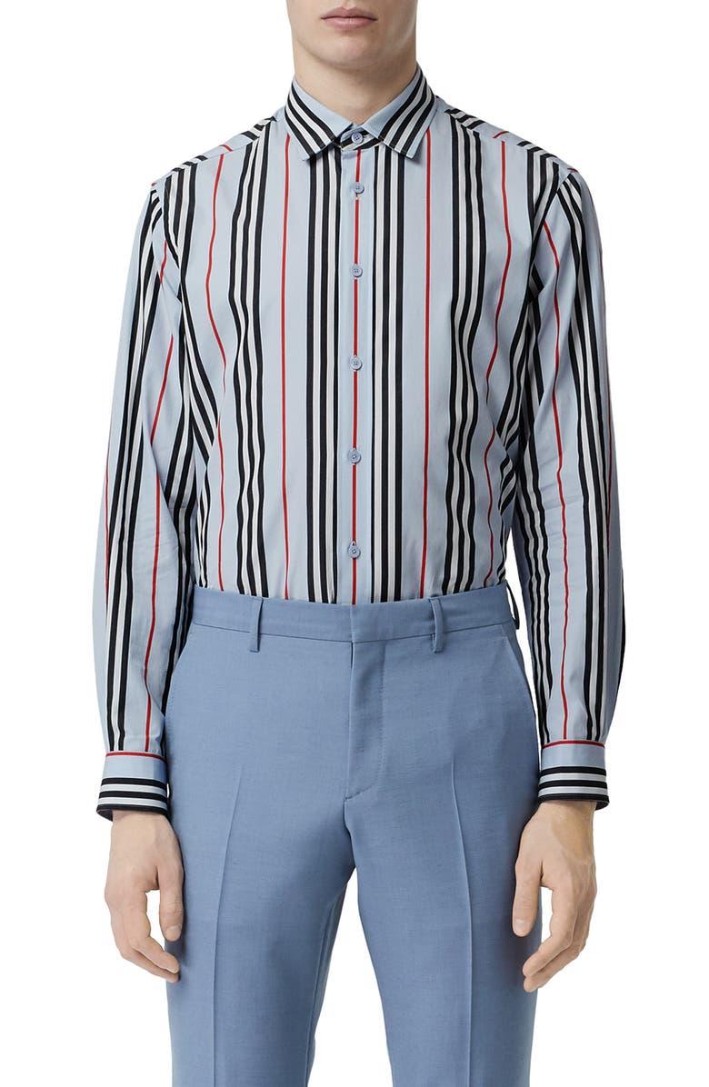 BURBERRY Icon Slim Fit Stripe Shirt, Main, color, PALE BLUE