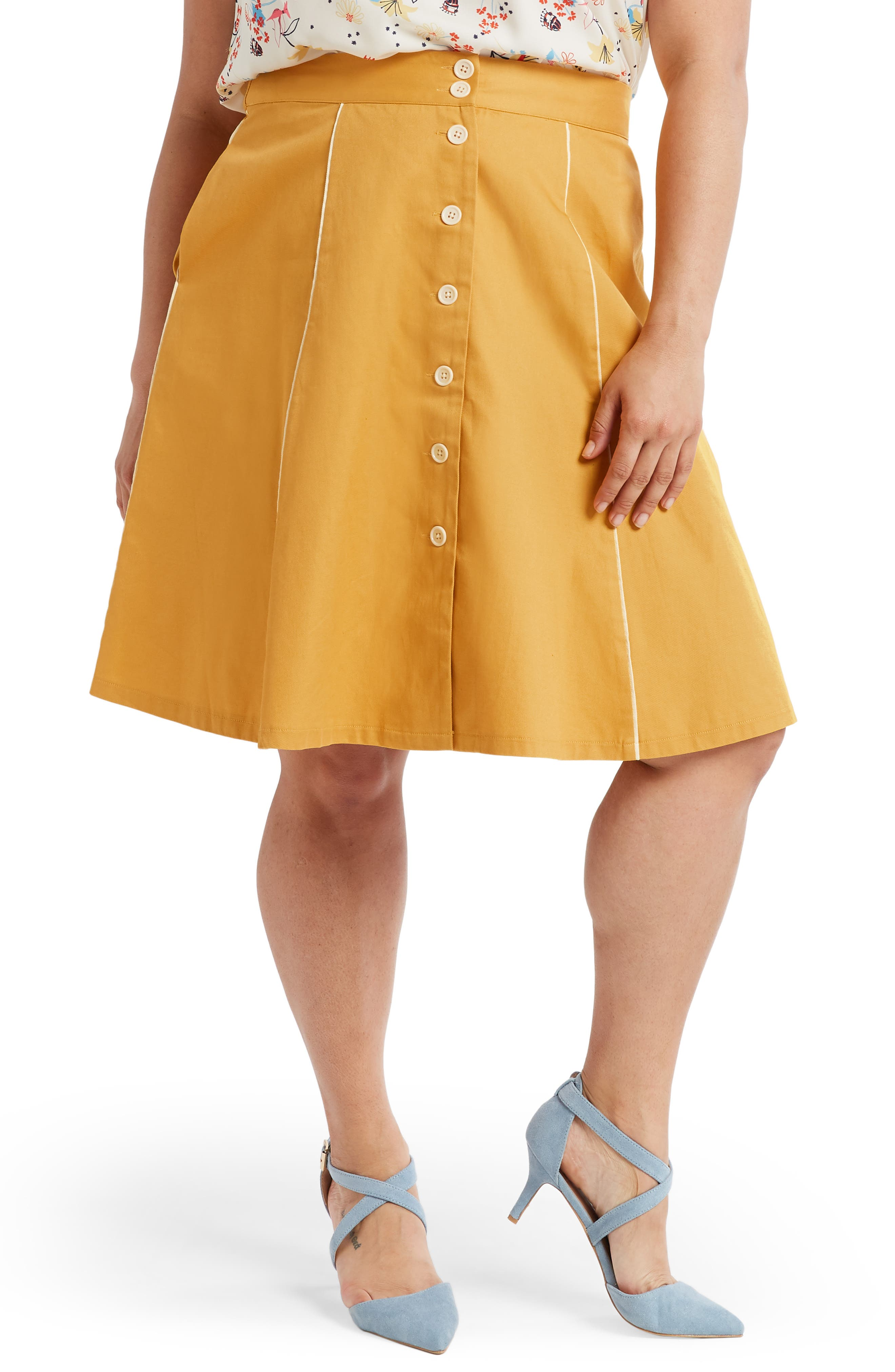 ,                             Button Front A-Line Skirt,                             Alternate thumbnail 3, color,                             MUSTARD- YOLK YELLOW