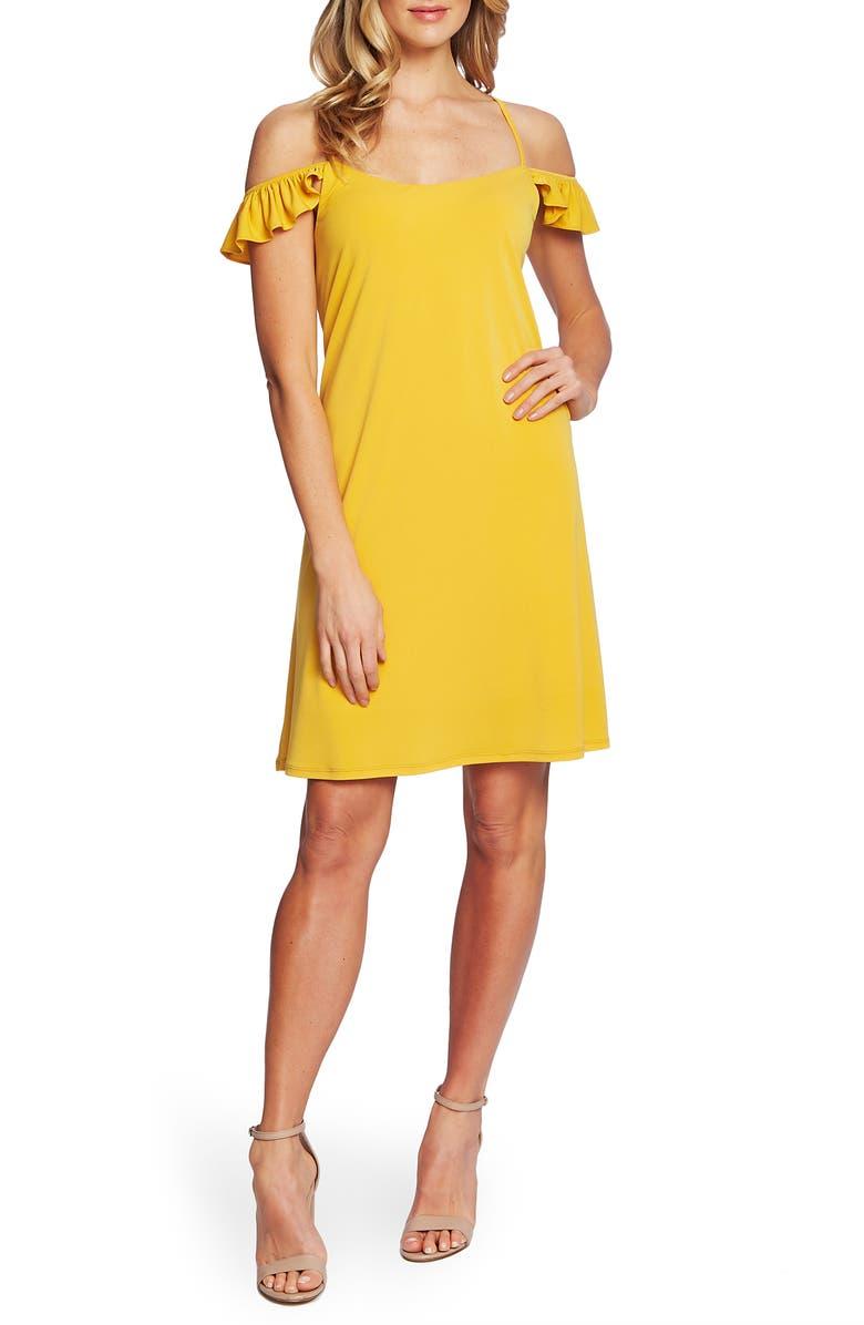 CECE Cold Shoulder Ruffle Detail Shift Dress, Main, color, TURMERIC SPICE