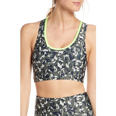 Soul By Soulcycle Leopard Camo Crossback Sports Bra, Green
