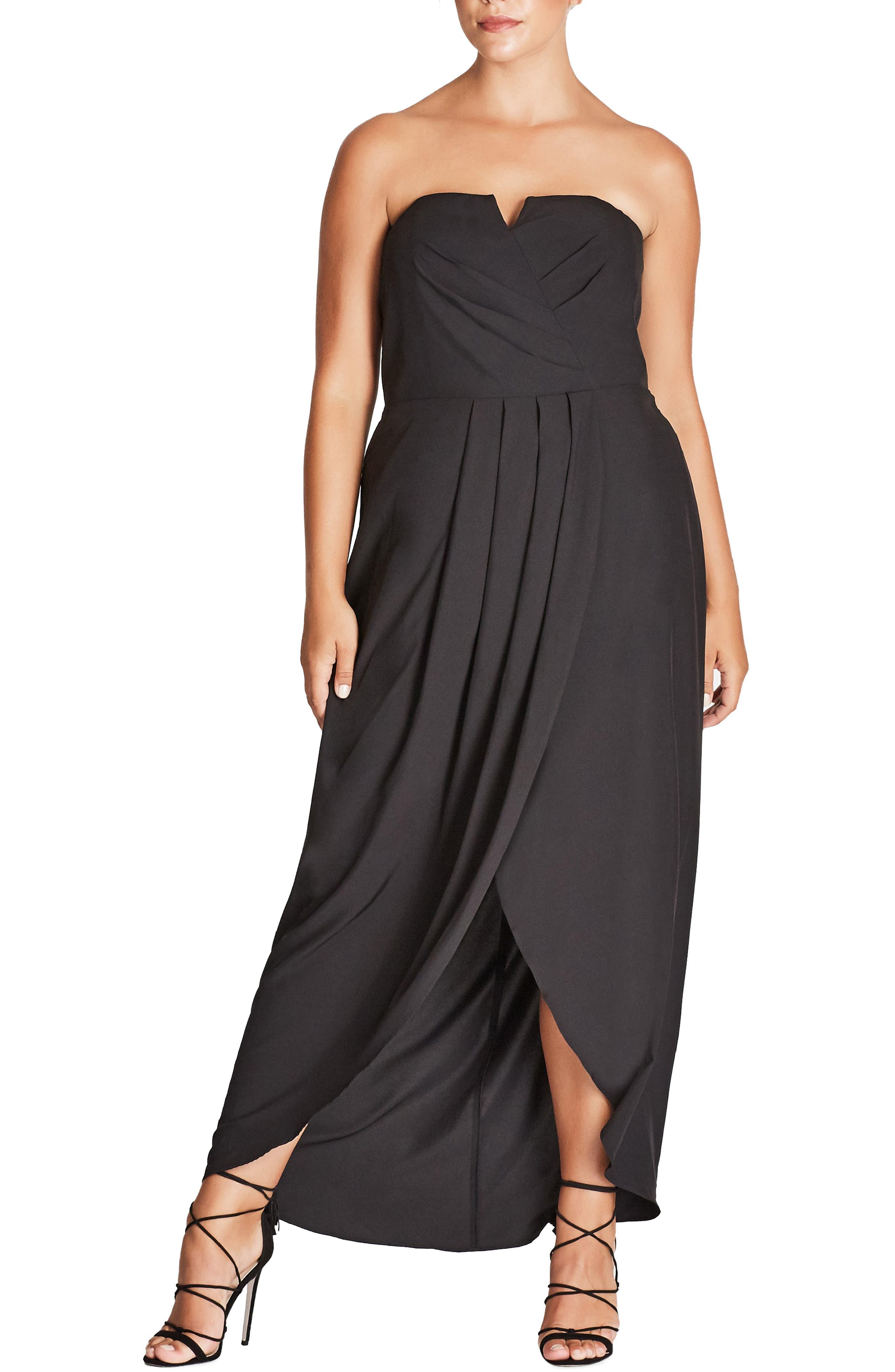 Plus Size City Chic Romantic Drape Maxi Dress, Black