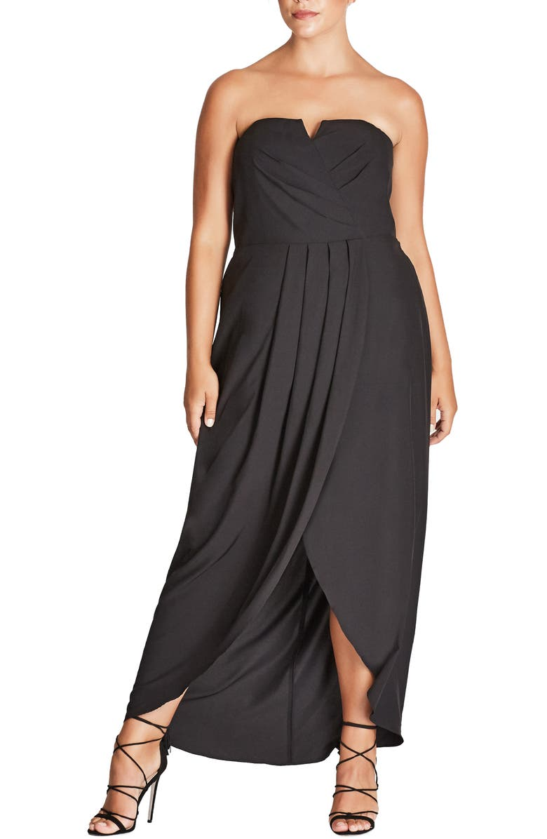 CITY CHIC Romantic Drape Maxi Dress, Main, color, 001