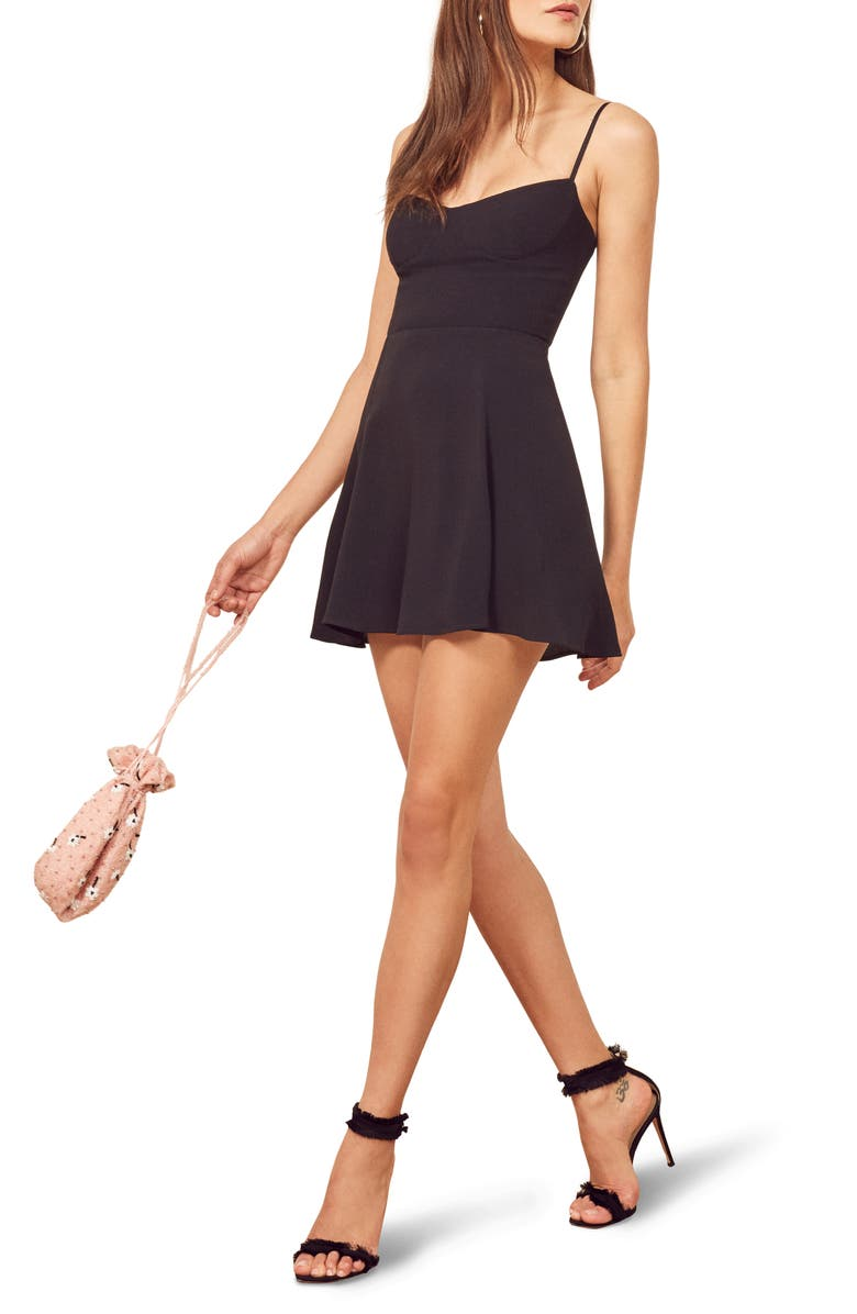 REFORMATION Scarpetta Sleeveless Minidress, Main, color, BLACK