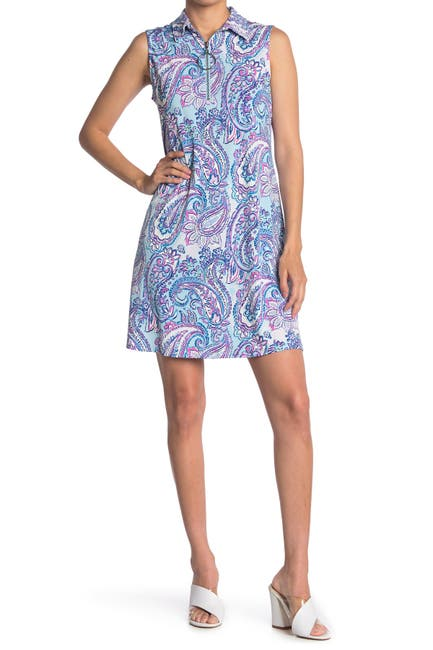 Image of MSK Paisley Sleeveless O-Ring Zip Dress