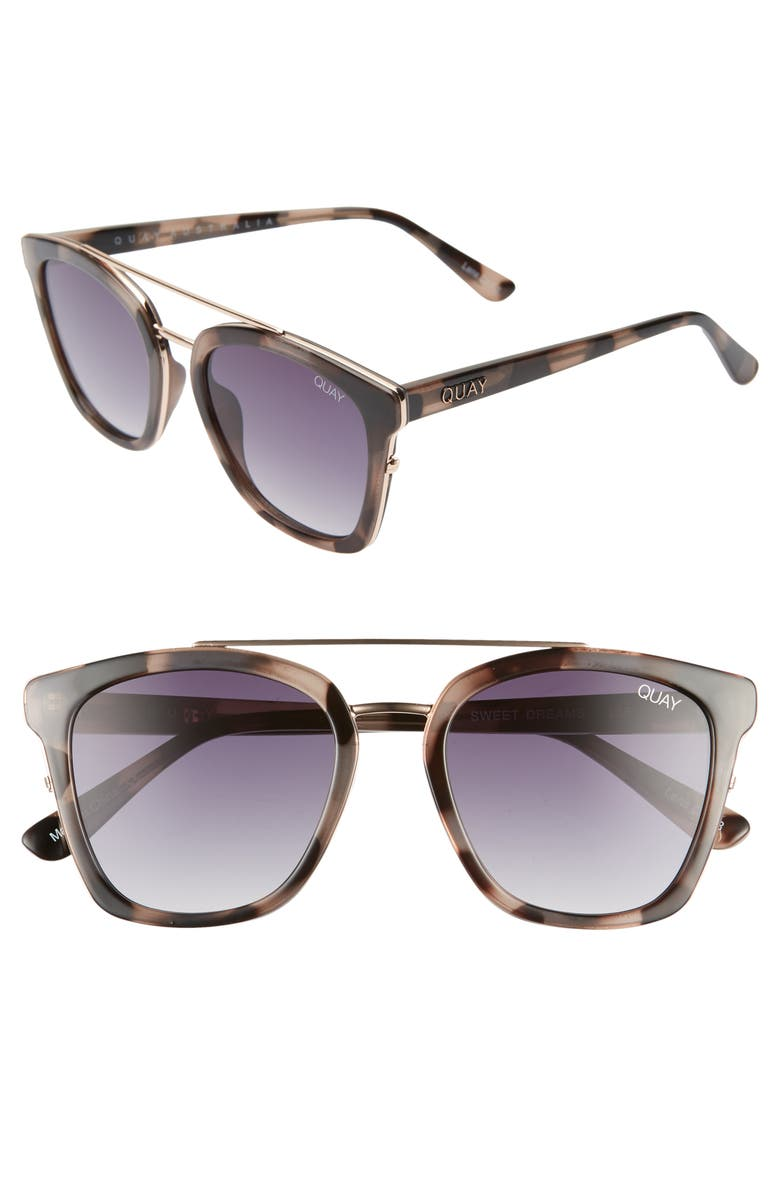 QUAY AUSTRALIA x Chrissy Teigen Sweet Dreams 51mm Square Sunglasses, Main, color, MILKY TORT/ SMOKE FADE