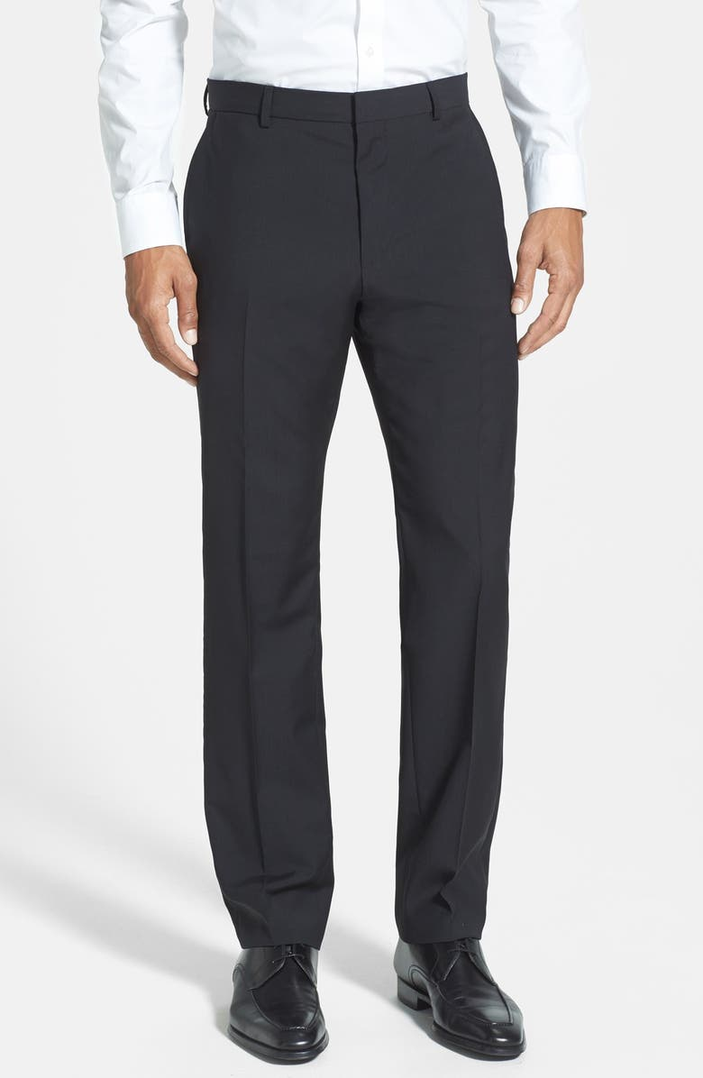 ZZDNUHUGO BOSS HUGO 'Hamen' Flat Front Wool Trousers, Main, color, 001