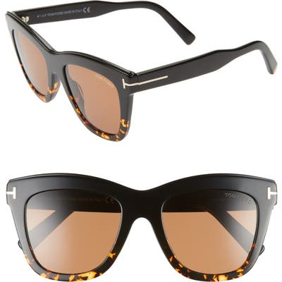 Tom Ford Julie 52Mm Sunglasses - Shiny Black/ Smoke/ Silver