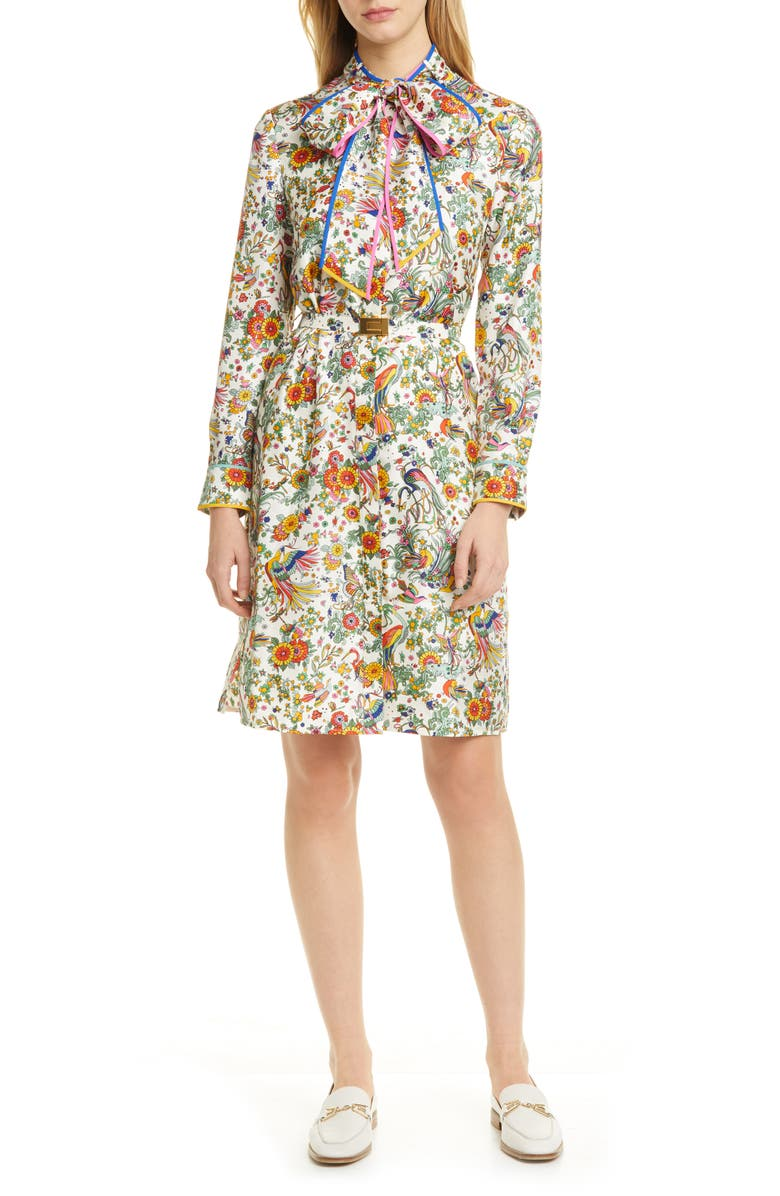 TORY BURCH Print Contrast Binding Long Sleeve Silk Shirtdress, Main, color, 900