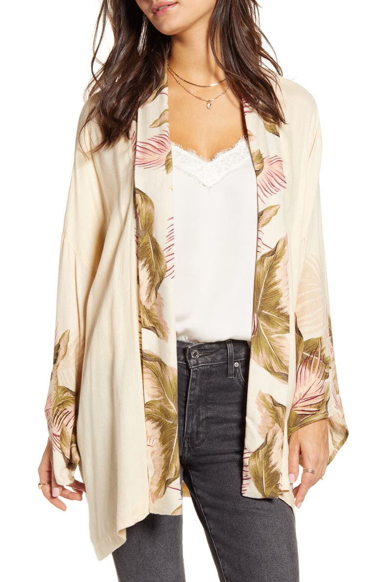 BILLABONG Ko Ko Mo Leaf Print Duster, Main, color, ANTIQUE WHITE