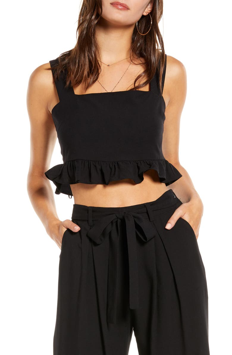 ENGLISH FACTORY Square Neck Ruffle Crop Top, Main, color, BLACK