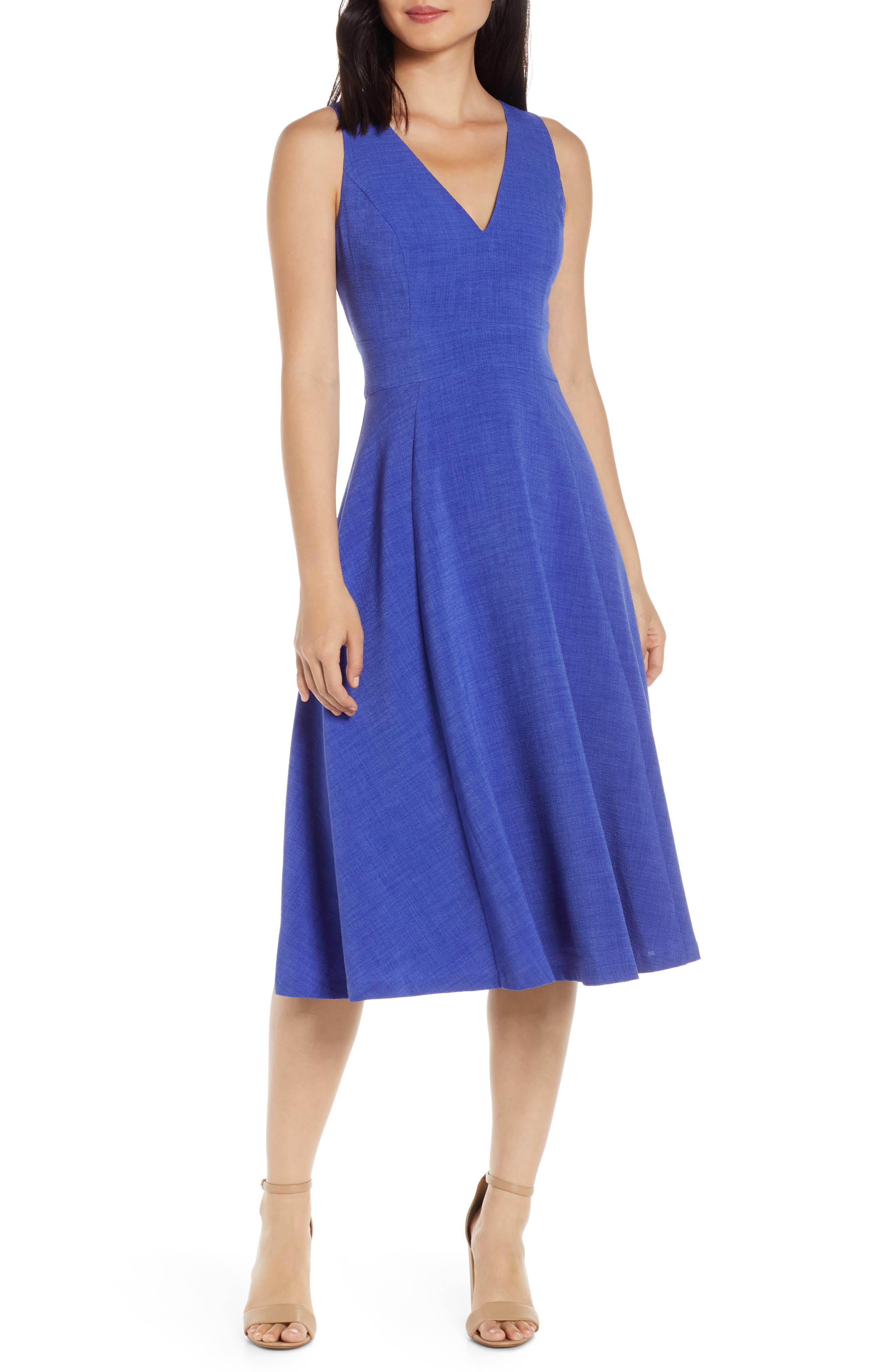 Vince Camuto Button Back Fit & Flare Dress, Blue