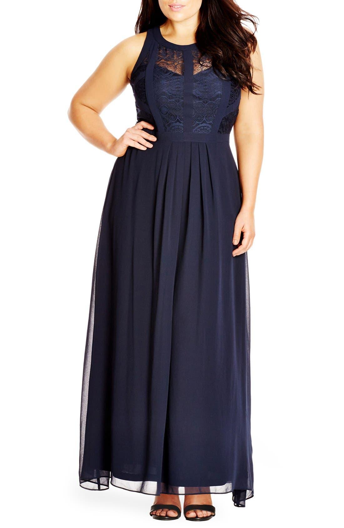 Plus Size City Chic Paneled Lace Bodice Gown, Blue