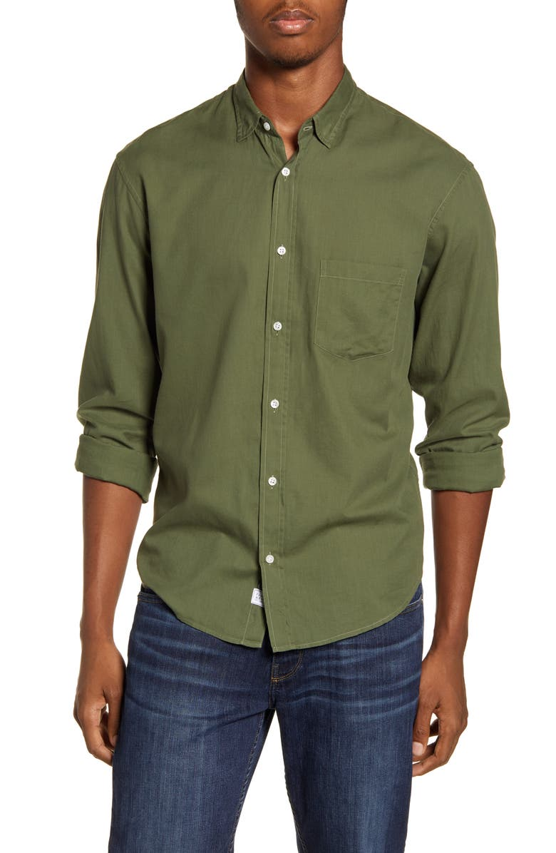 FRANK & EILEEN Don Regular Fit Solid Button-Up Sport Shirt, Main, color, ARMY GREEN