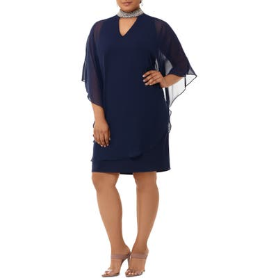 Plus Size Xscape Embellished Collar Chiffon Overlay Shift Dress, Blue