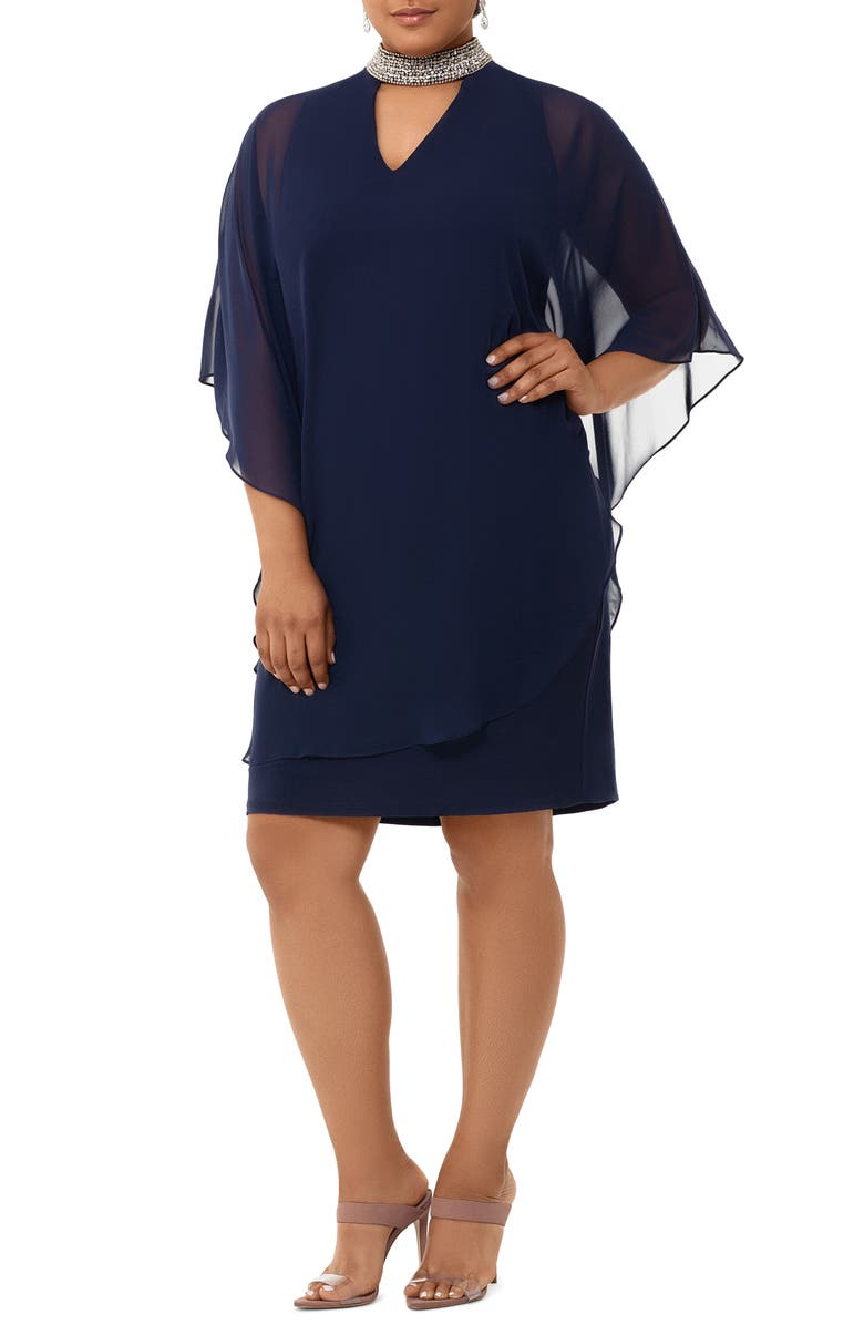 XSCAPE Embellished Collar Chiffon Overlay Shift Dress, Main, color, NAVY/ SILVER