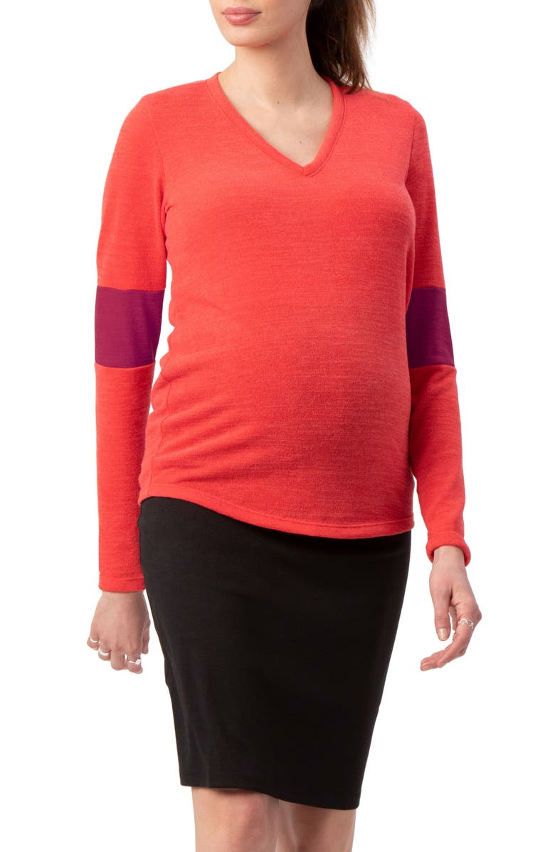 STOWAWAY COLLECTION Contrast Elbow Maternity Sweater, Main, color, CORAL