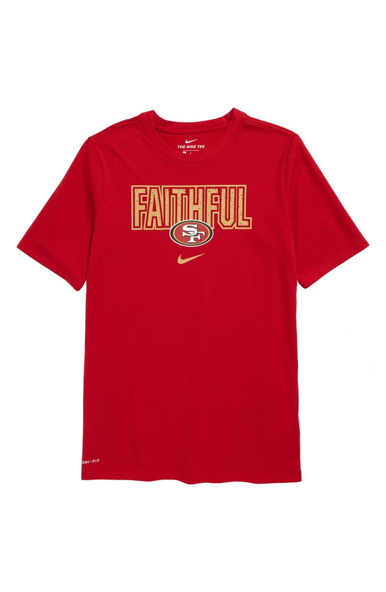 NIKE NFL Logo San Francisco 49ers Dri-FIT T-Shirt, Main, color, GYM RED