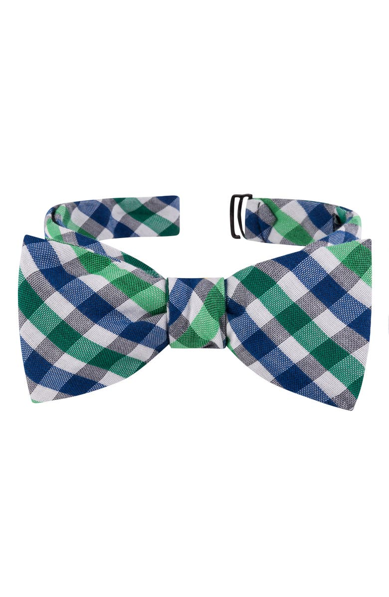 TED BAKER LONDON Check Cotton & Silk Bow Tie, Main, color, GREEN