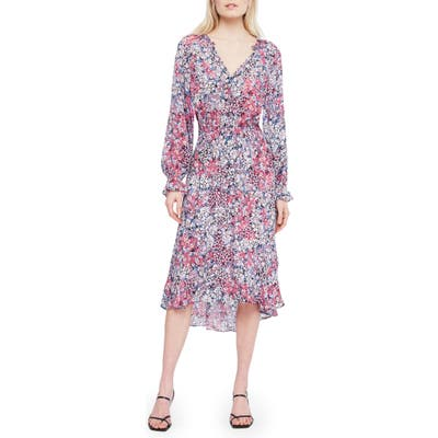 Parker Adele Floral Long Sleeve Silk Midi Dress, Blue
