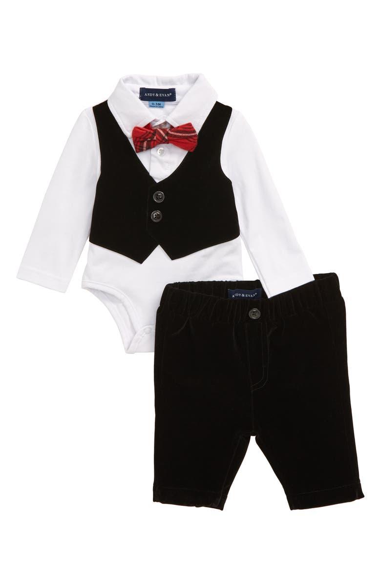 ANDY & EVAN Velvet Vest Bodysuit & Pants Set, Main, color, 003