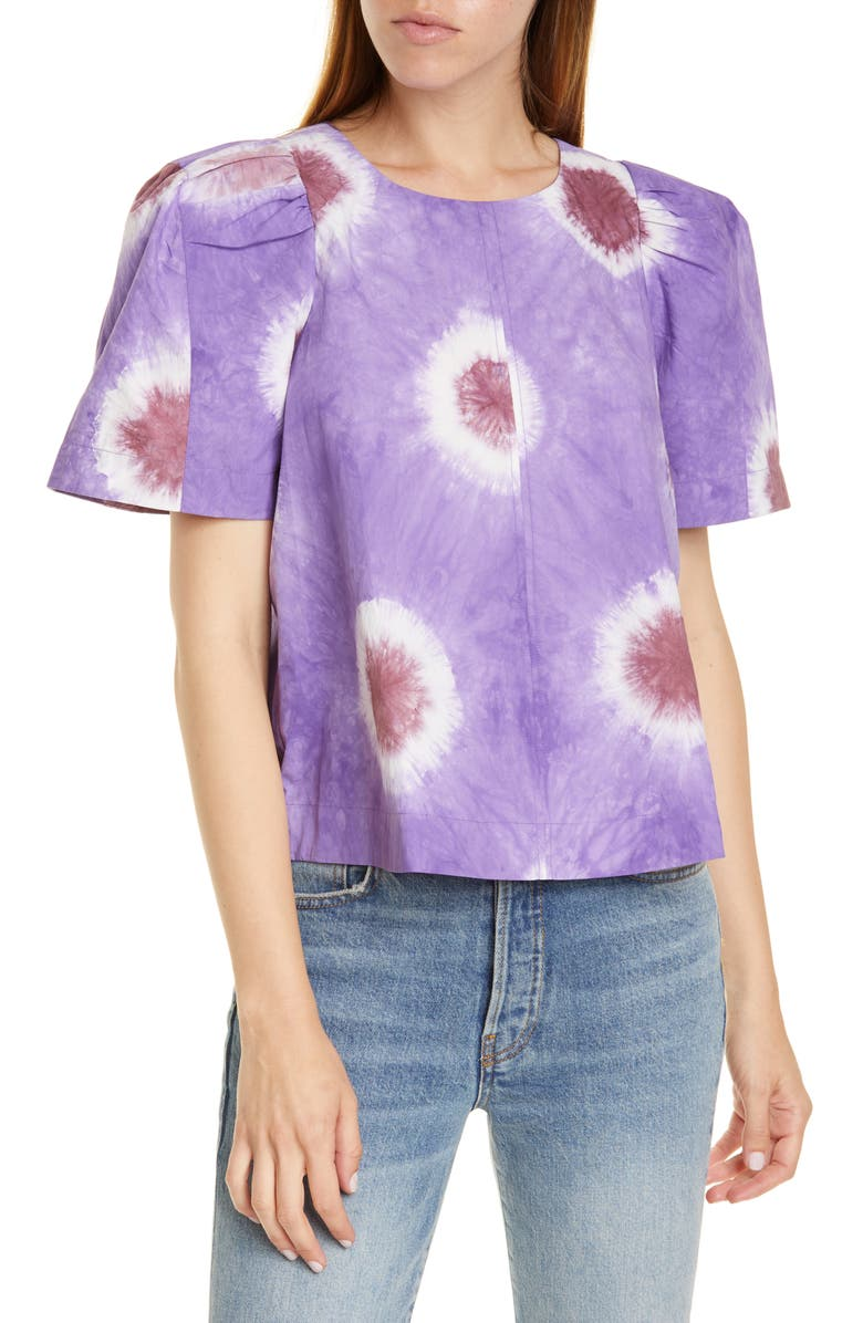 SEA Tie Dye Puff Sleeve Top, Main, color, PURPLE