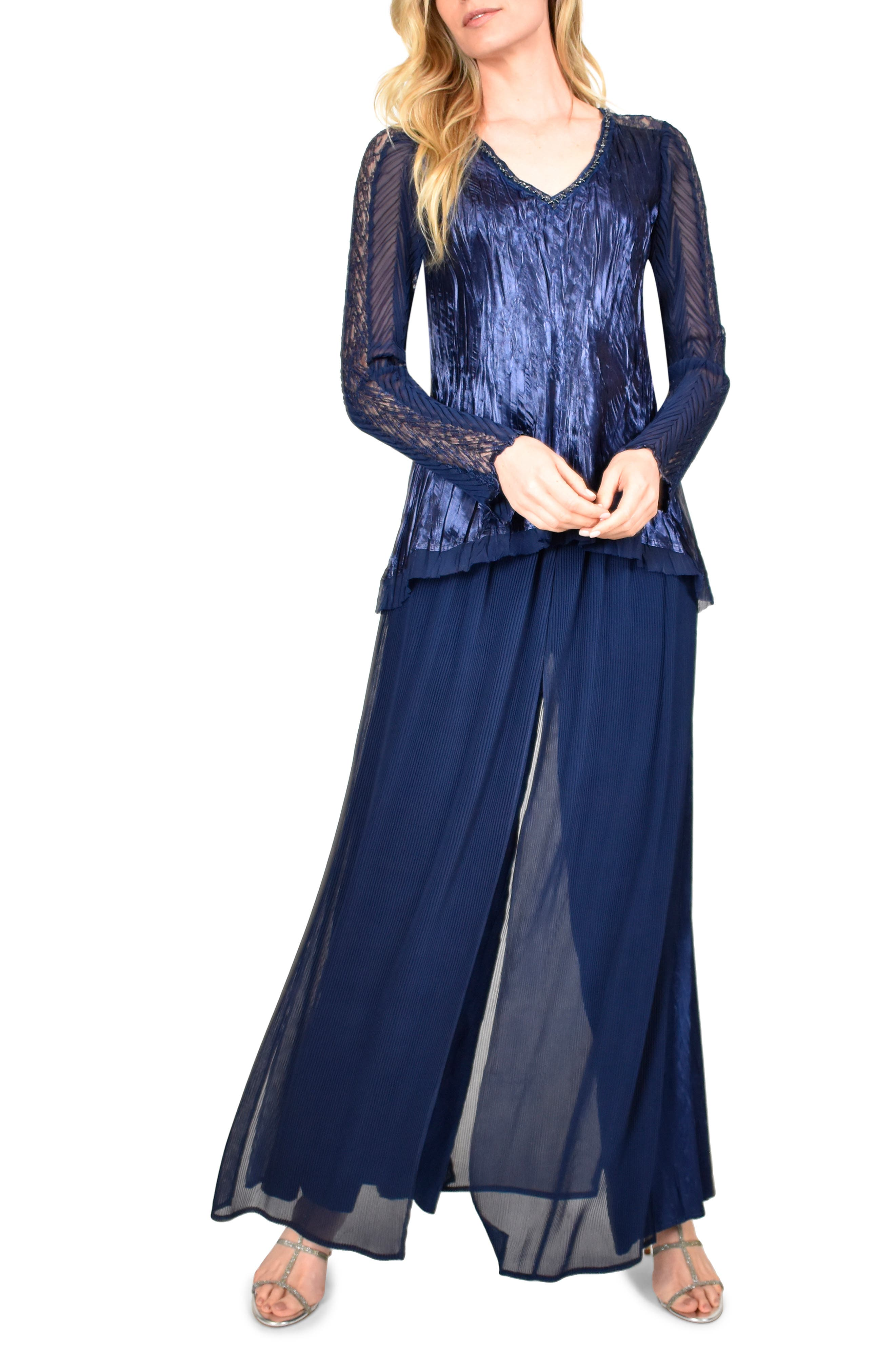 Did Women Wear Pants in the 1920s? Yes! sort of… Womens Komarov Two-Piece Charmeuse And Chiffon Long Sleeve Top  Pants Set $358.00 AT vintagedancer.com