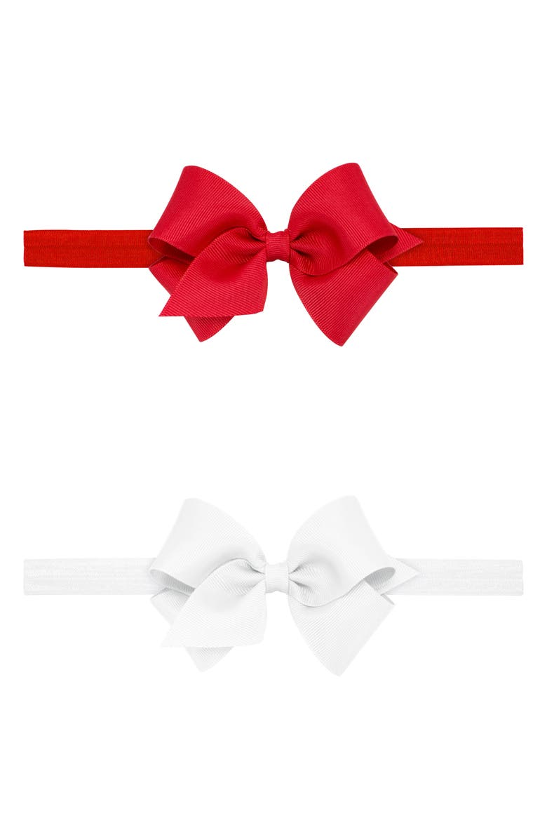 PLH BOWS 2-Pack Grosgrain Bow Headbands, Main, color, WHITE/ RED