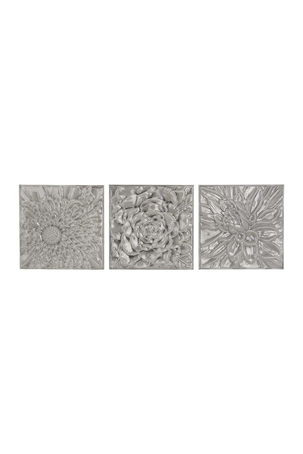 Image of Willow Row Grey Contemporary Glazed Iron Wall Decor - Set of 3