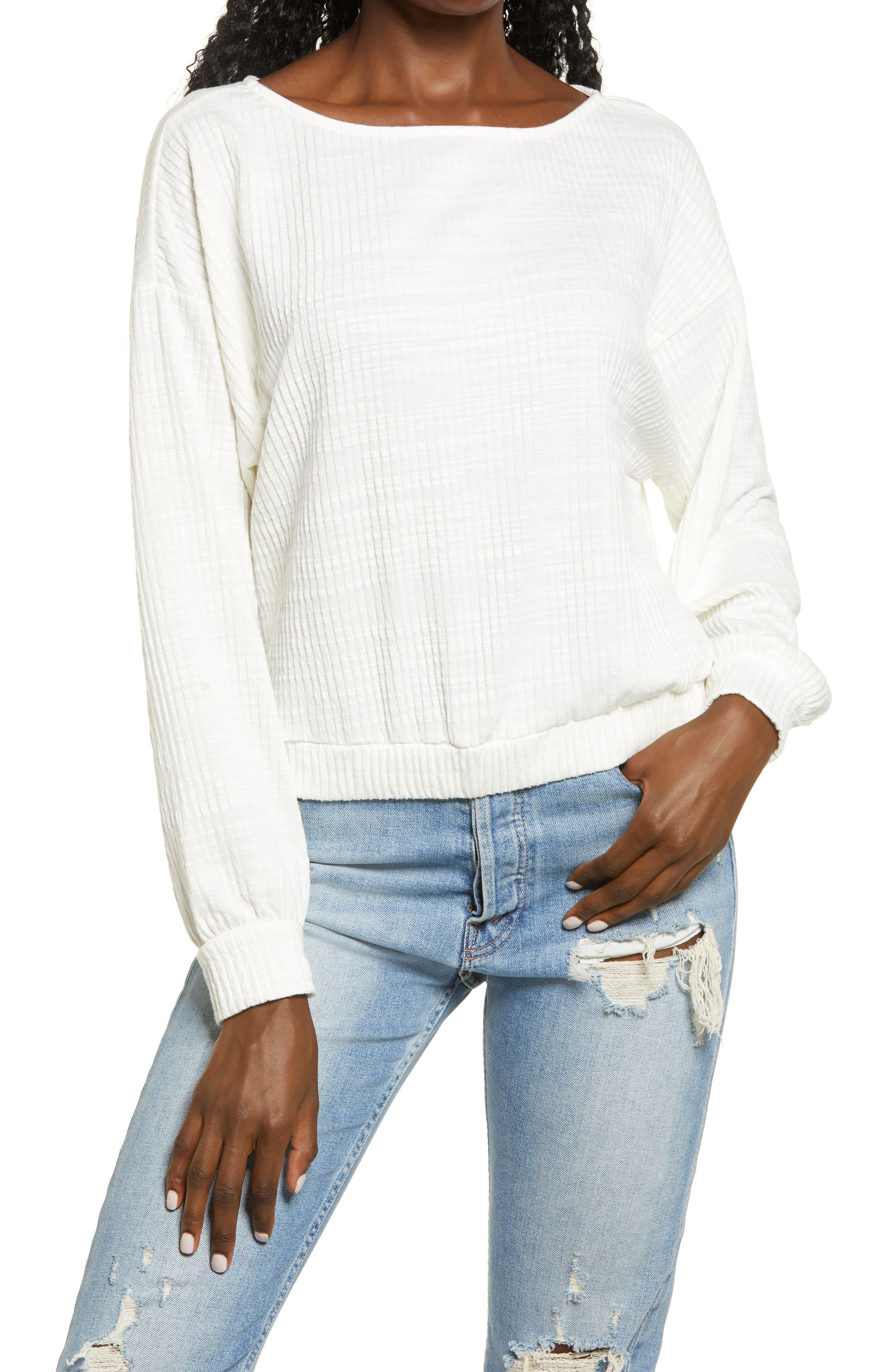 Soft ribs and a casual dropped-shoulder give this top a relaxed look you can pair with anything. Style Name: All In Favor Boat Neck Pullover. Style Number: 6158051. Available in stores.