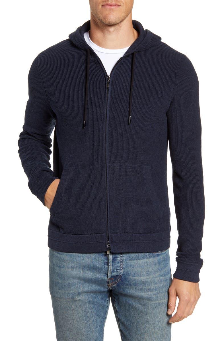 ROBERT BARAKETT Kensington Hooded Zip Sweater, Main, color, NAVY