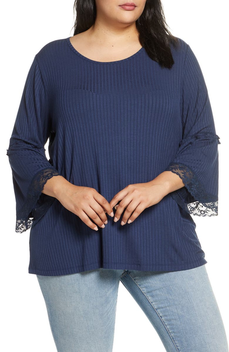 SINGLE THREAD Bell Sleeve Rib Knit Top, Main, color, DRESS BLUE