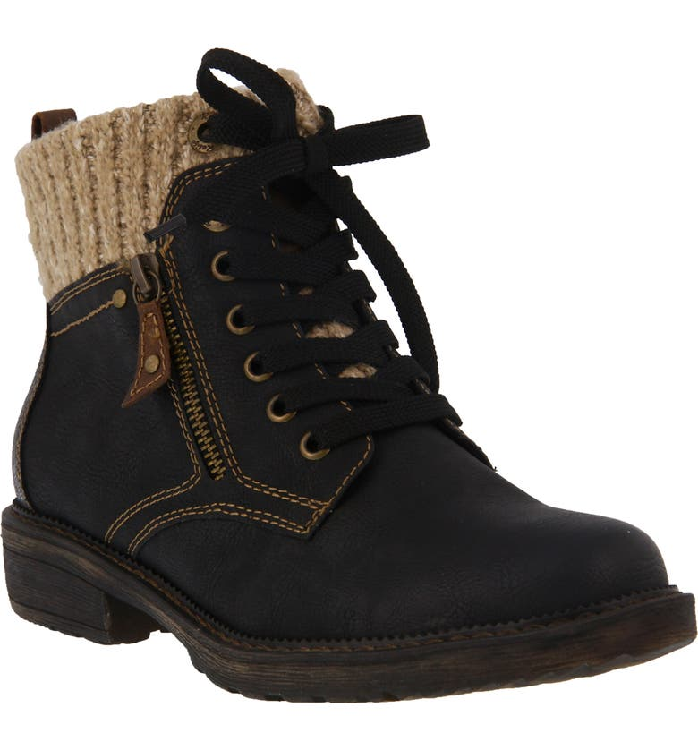 SPRING STEP Khazera Lace-Up Boot, Main, color, BLACK FAUX LEATHER
