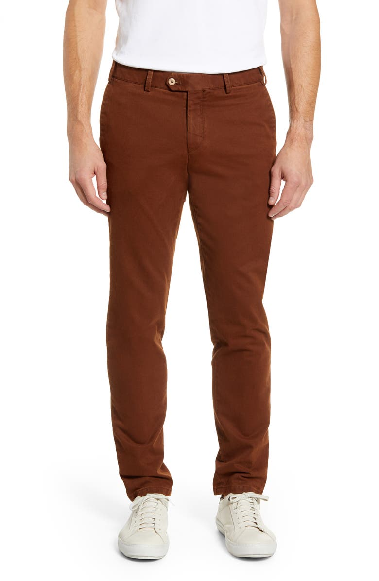 HILTL Tierre Slim Fit Washed Twill Pants, Main, color, COPPER