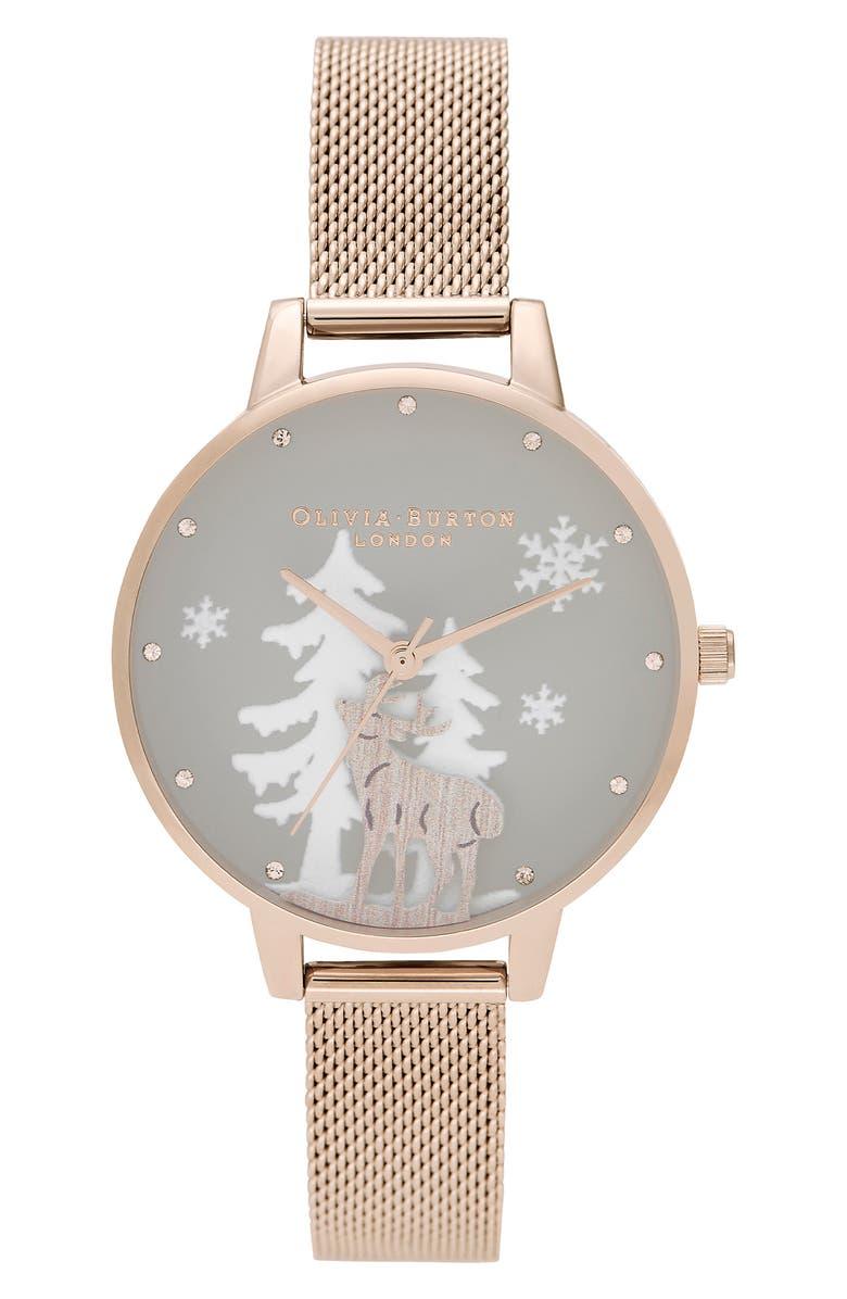 OLIVIA BURTON Winter Wonderland Mesh Strap Watch, 30mm, Main, color, ROSE GOLD/ GREY