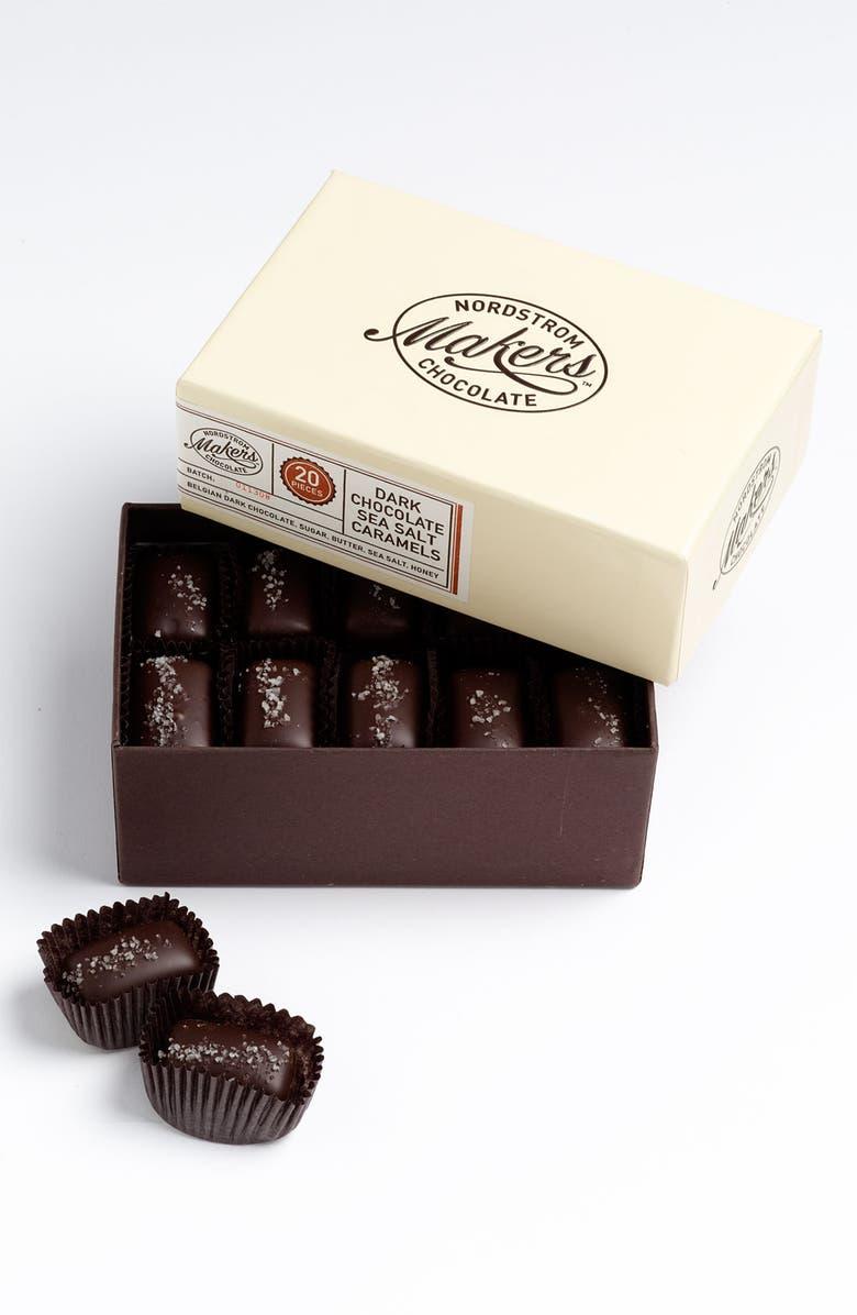 NORDSTROM MAKERS CHOCOLATE Dark Chocolate Sea Salt Caramels, Main, color, 000