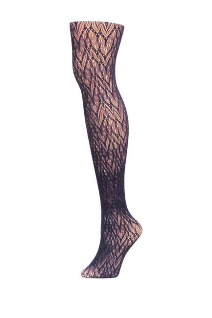 Image of MEMOI Glacier Two-Tone Net Tights