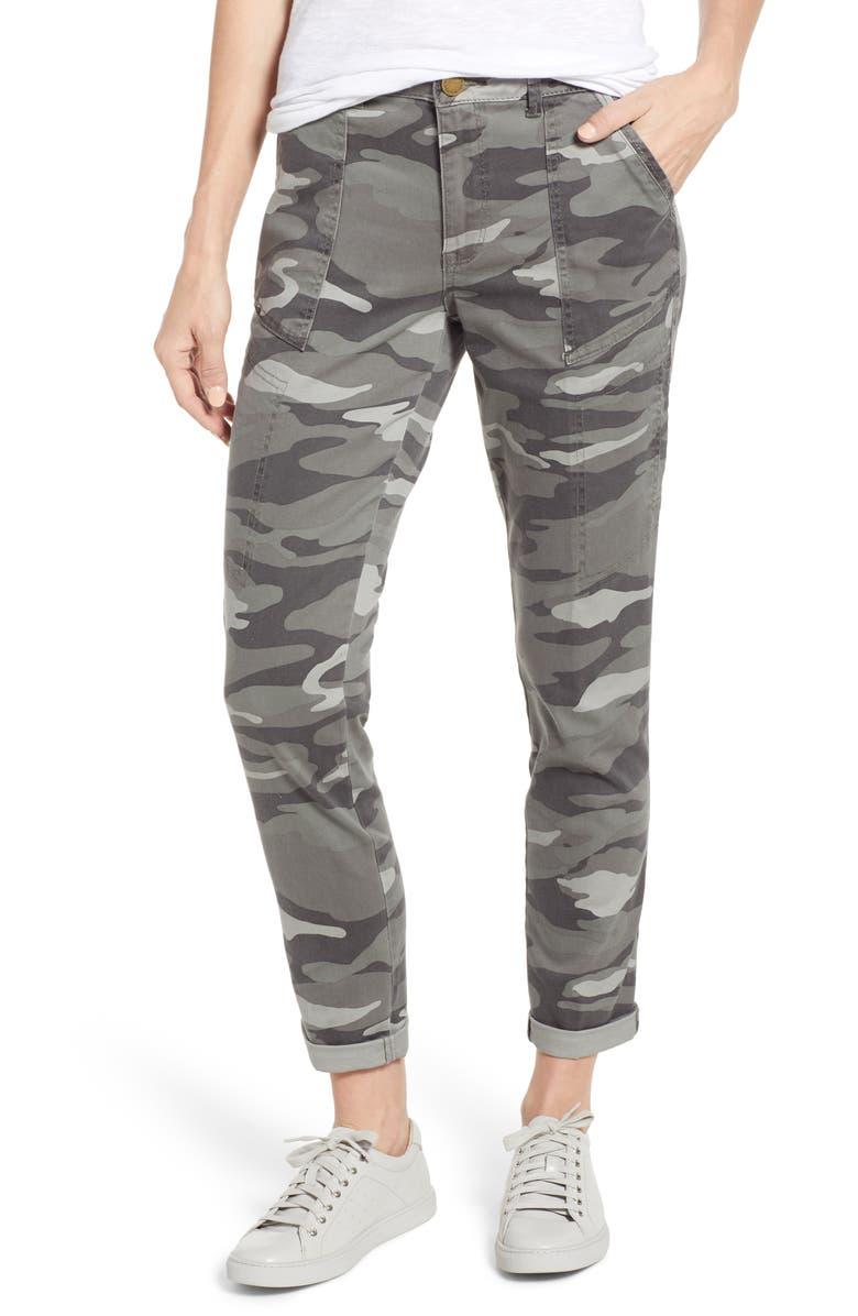 WIT & WISDOM Flex-ellent Camo High Waist Cargo Pants, Main, color, SAGE