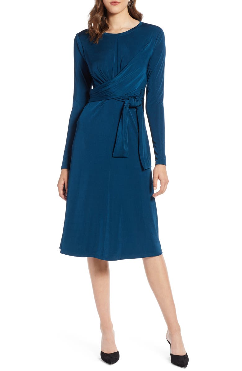 HALOGEN<SUP>®</SUP> Wrap Detail Dress, Main, color, BLUE AURORA