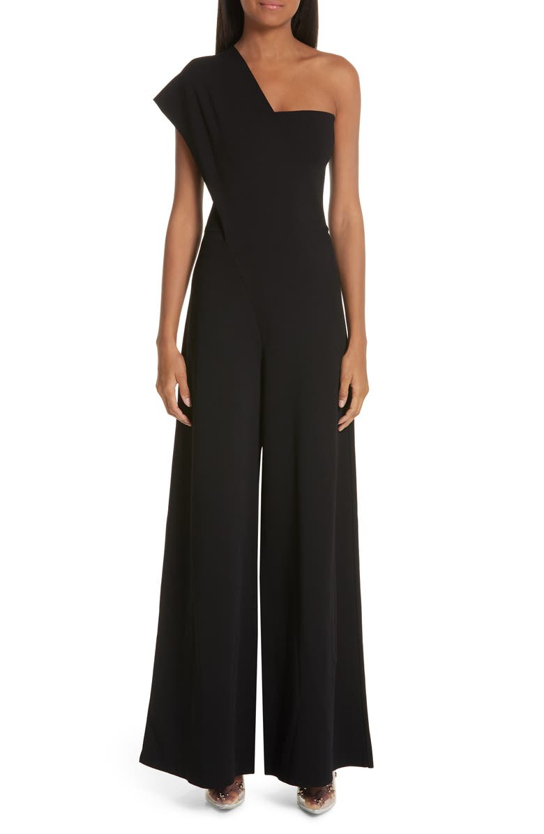 STELLA MCCARTNEY One-Shoulder Wide Leg Knit Jumpsuit, Main, color, 001
