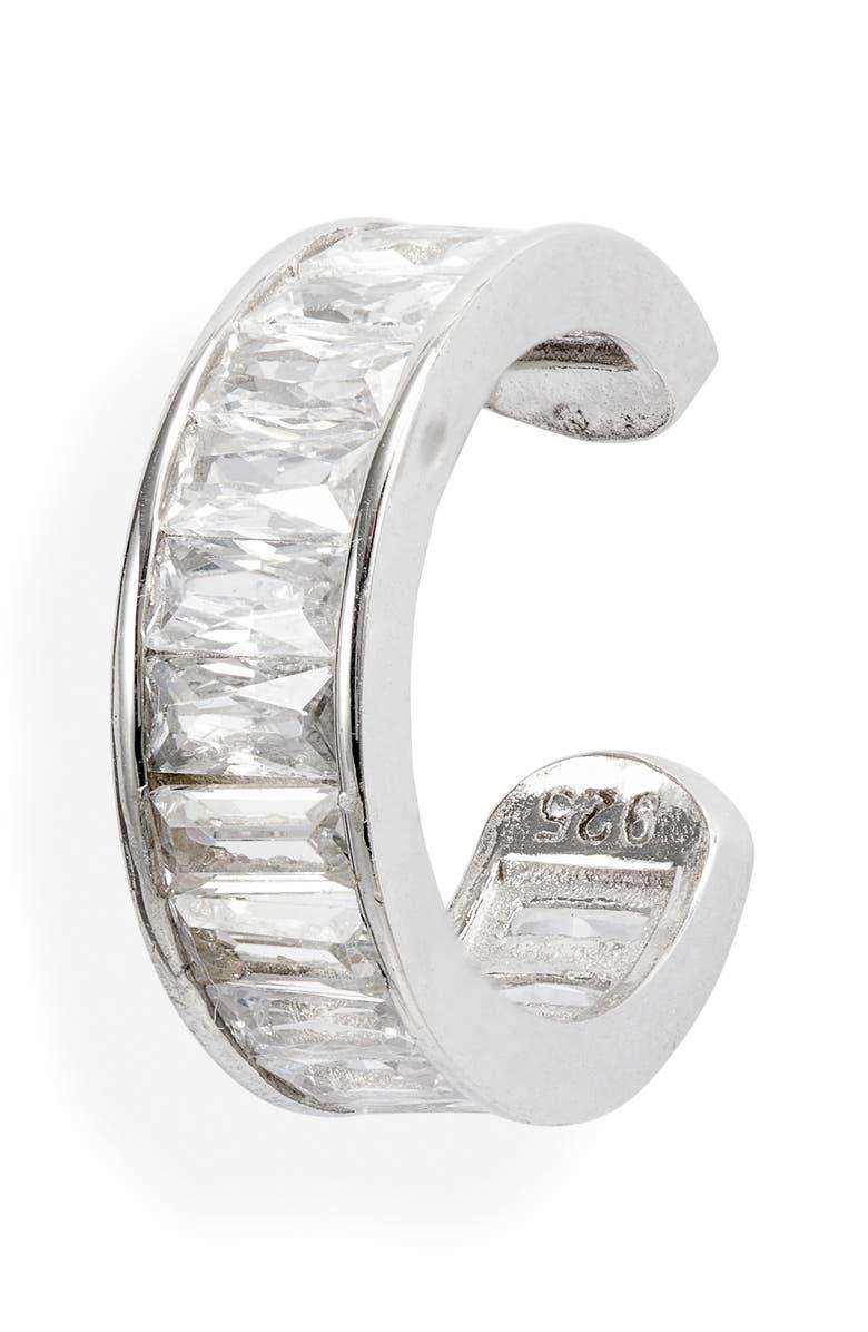 ADINA'S JEWELS Adina's Jewels Baguette Ear Cuff, Main, color, SILVER