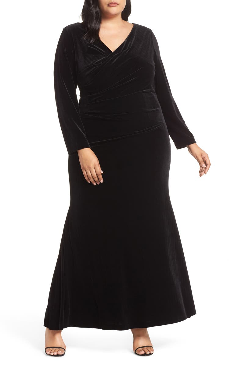 VINCE CAMUTO Side Ruched Gown, Main, color, BLACK