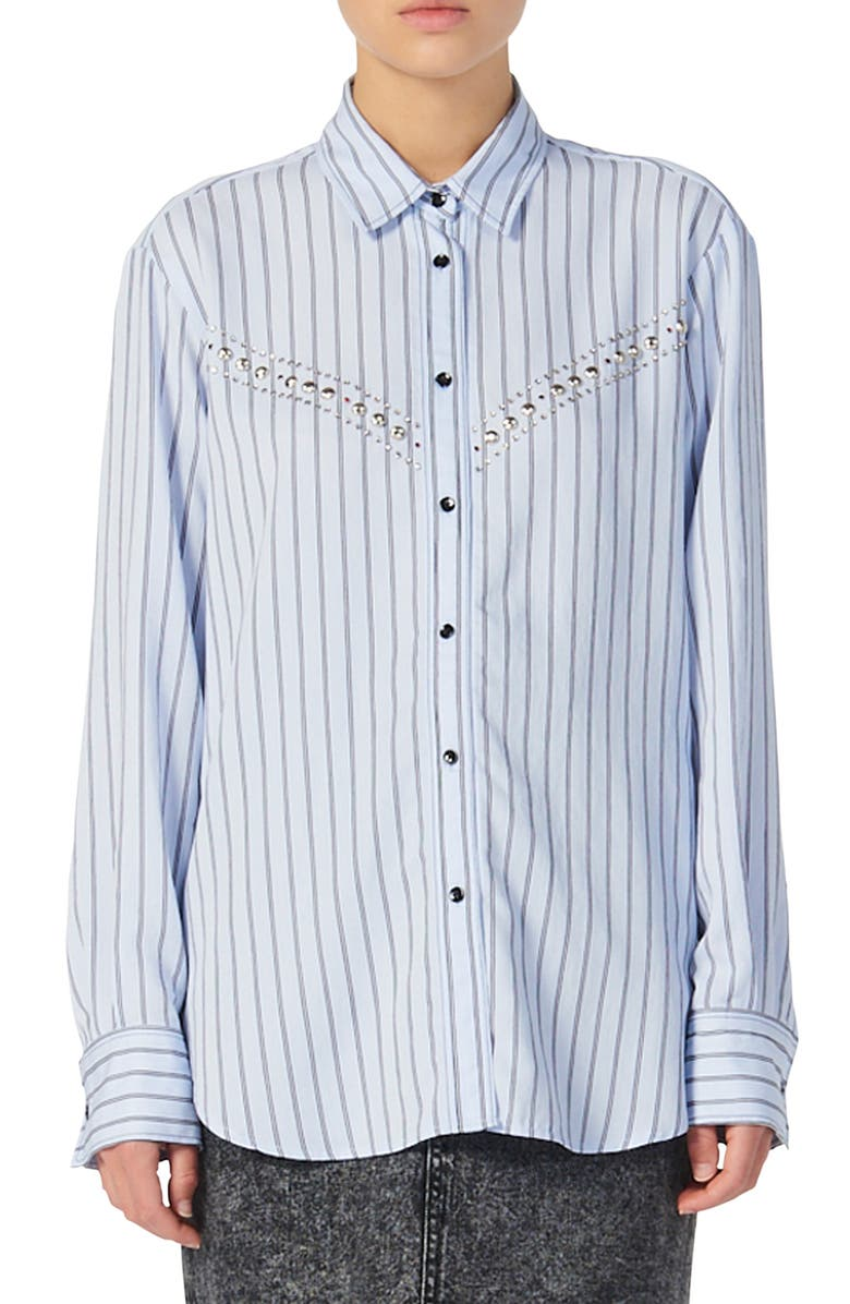 SANDRO Viala Stripe Studded Shirt, Main, color, SKY BLUE